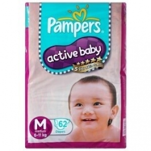PAMPERS ACTIVE BABY M (6-11KG) 62 DIAPERS