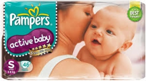 PAMPERS ACTIVE BABY S (3-8KG) 22 DIAPERS