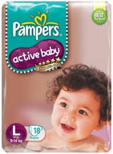 PAMPERS ACTIVE BABY L (9-14KG) 18 DIAPERS