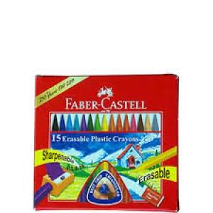 FABER CASTELL 15 ERASABLE PLASTIC CRAYONS