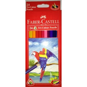 FABER-CASTELL 24 TRI-COLOUR PENCILS