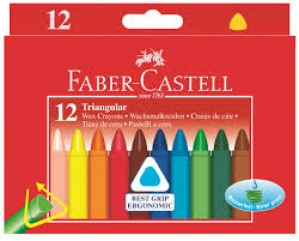 FABER-CASTELL 12 TRIANGULAR GRIP WAX CRAYONS