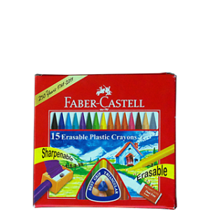 FABER-CASTELL 15 ERASABLE PLASTIC CRAYONS 70MM
