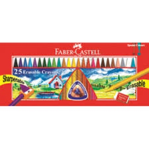 FABER-CASTELL 25 ERASABLE PLASTIC CRAYONS 70MM