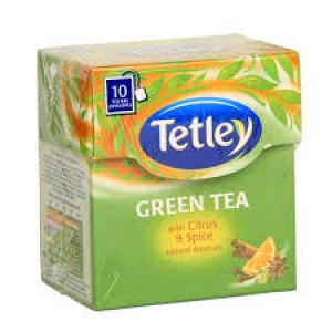 TETLEY GREEN TEA WITH CITRUS & SPICE 10 BAGS