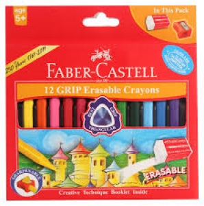 FABER-CASTELL 12 ERASABLE PLASTIC CRAYONS TIN