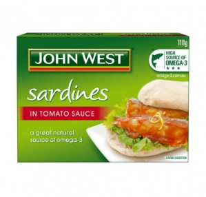 JOHN WEST SARDINES IN TOMATO A 110G