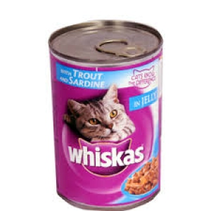 WHISKAS WITH TROUT & SARDINE IN JELLY TIN 400G
