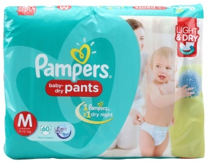 PAMPERS BABY DRY-PANTS M (7-12KG) 60 D