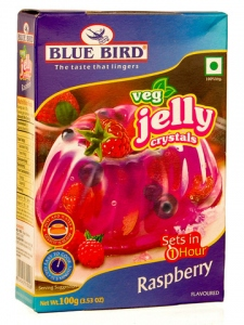 BLUE BIRD VEG JELLY CRYSTALS RASPBERRY 100G