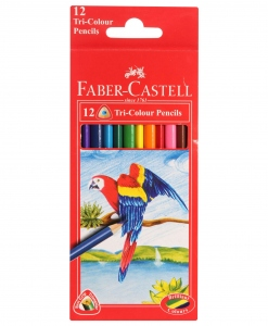 FABER CASTELL 12 TRI-COLOUR PENCILS