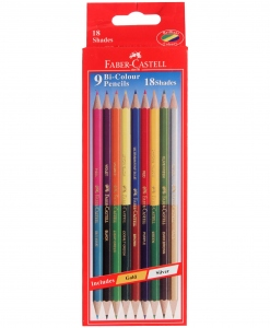FABER-CASTELL 9 BI-COLOUR PENCILS 174MM