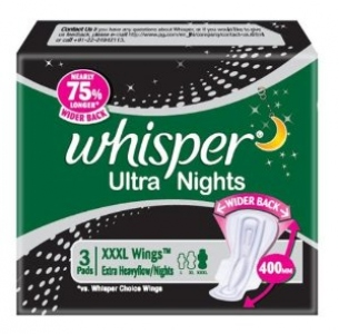WHISPER ULTRA NIGHTS XXXL WINGS 3 PADS