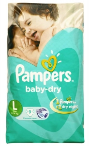 PAMPERS BABY-DRY L (9-14KG) 9 D