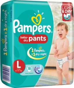 PAMPERS BABY-DRY L (9-14KG) 18 D