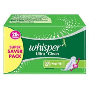 WHISPER ULTRA CLEAN L WINGS 30 PADS