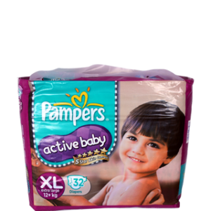 PAMPERS ACTIVE BABY XL (12+KG) 32 DIAPERS