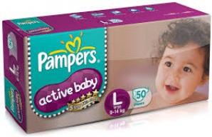 PAMPERS ACTIVE BABY L( 9-14KG) 50 DIAPERS