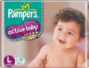 PAMPERS  ACTIVE BABY L (9-14KG) 78 DIAPERS
