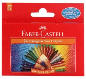 FABER-CASTELL 24 TRIANGULAR GRIP WAX CRAYONS