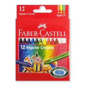 FABER-CASTELL 12 WAX CRAYONS 75MM