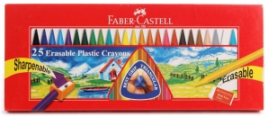 FABER-CASTELL 25 ERASABLE PLASTIC CRAYONS 110MM