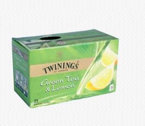 TWININGS GREEN TEA & LEMON 25 TEA BAGS
